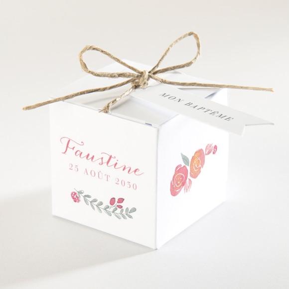 Boîte de dragées baptême Cadre de fleurs réf.N340154
