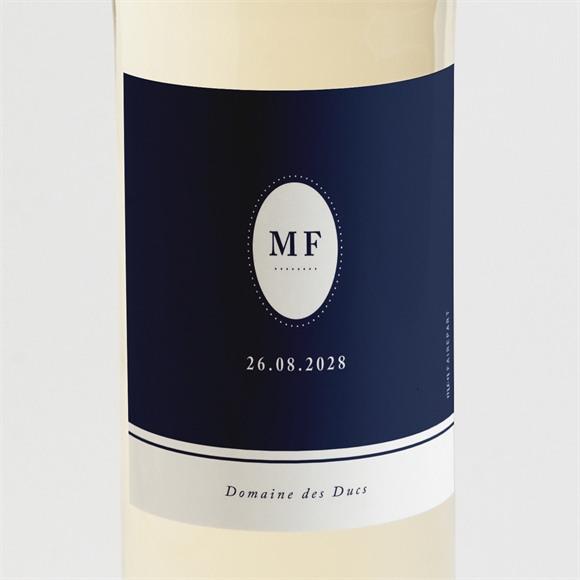 Etiquette de bouteille mariage Bleu romantique réf.N3001510