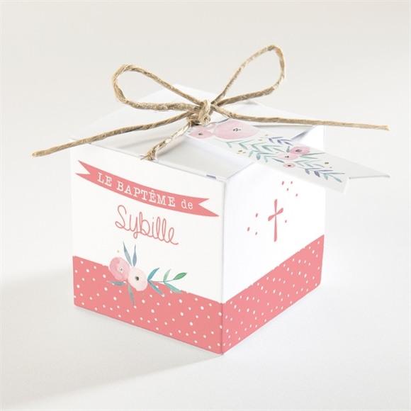 Boîte de dragées baptême Motifs et fleurs réf.N340160
