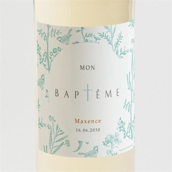 Etiquette de bouteille baptême Gravure en rond réf.N3001526