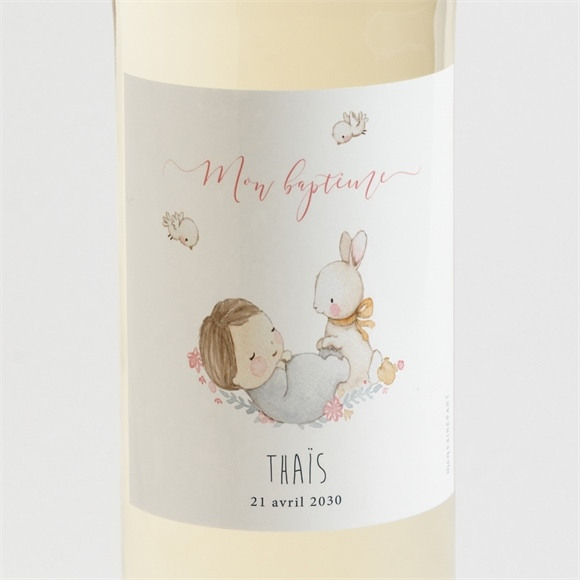 Etiquette de bouteille baptême Enfant bercé de tendresse réf.N3001530
