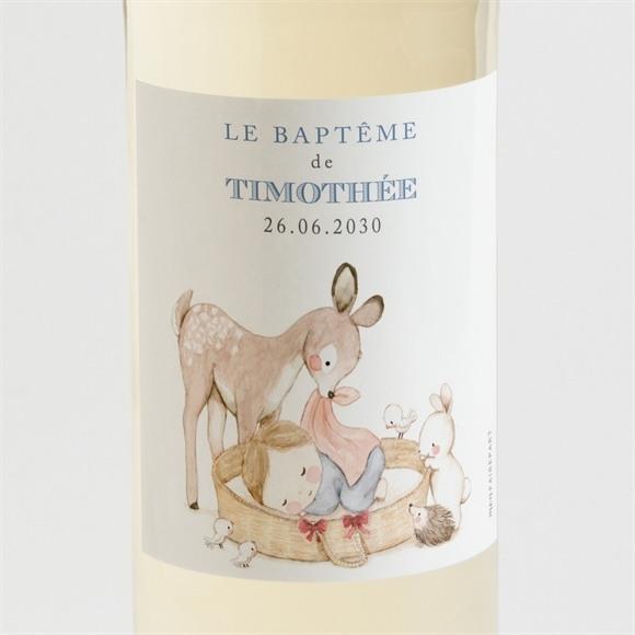 Etiquette de bouteille baptême Illustration animaux réf.N3001532