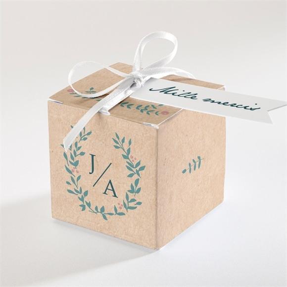 Boîte de dragées mariage Kraft naturel réf.N340176