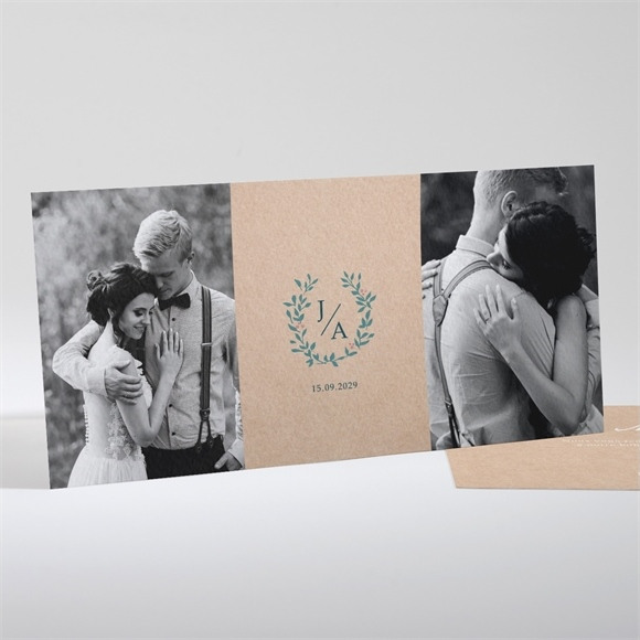 Remerciement mariage Kraft naturel réf.N13189