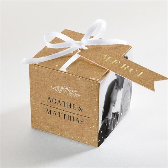 Boîte de dragées mariage Kraft champêtre réf.N340188