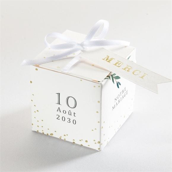Boîte de dragées mariage Douceur du pinceau dorure