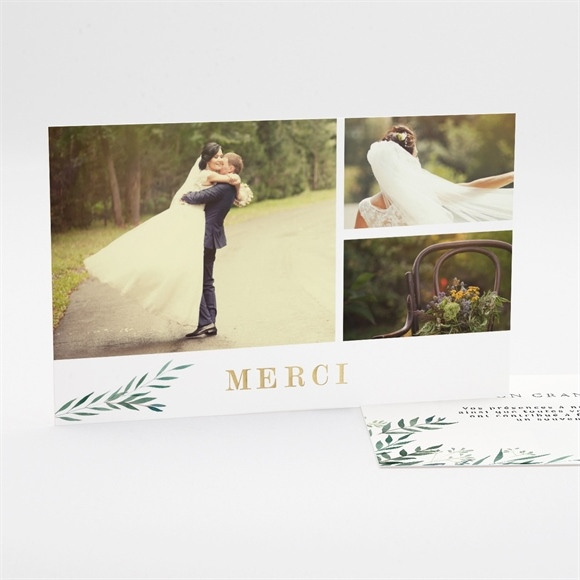 Remerciement mariage Douceur du pinceau dorure réf.N17104