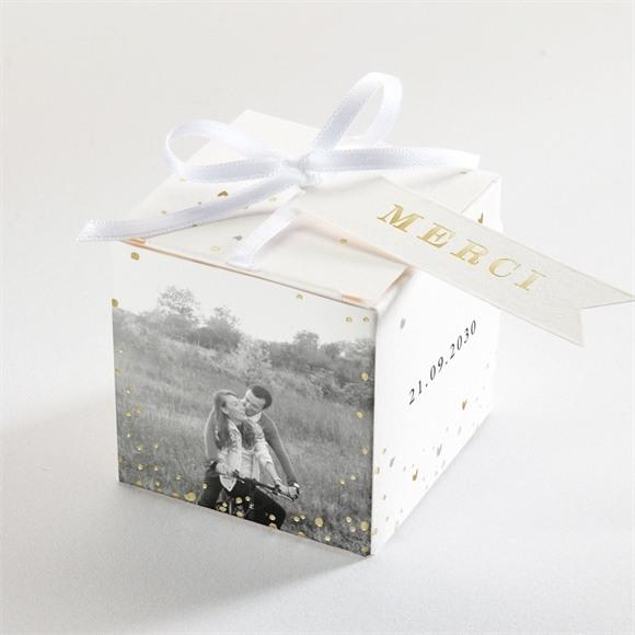 Boîte de dragées mariage Nos 2 petits mariés dorure réf.N340201