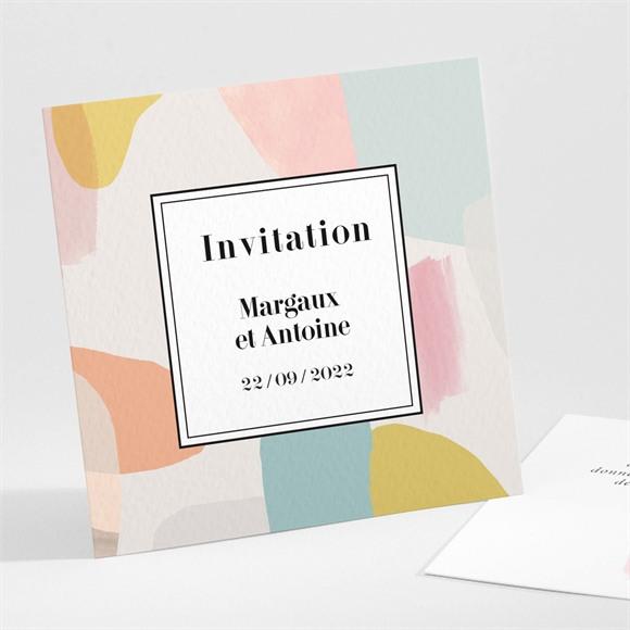 Carton d'invitation mariage Charmantes couleurs réf.N30197