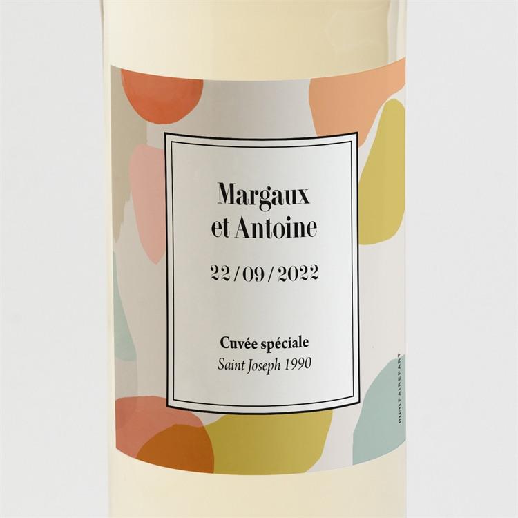 Etiquette de bouteille mariage Charmantes couleurs réf.N3001541
