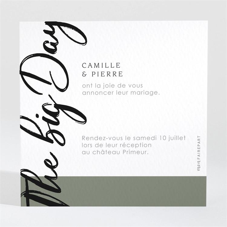 Carton d'invitation mariage Vert sauge réf.N3001547