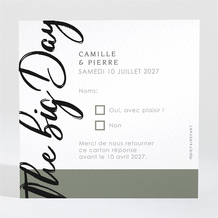 Carton réponse mariage Vert sauge réf.N3001548