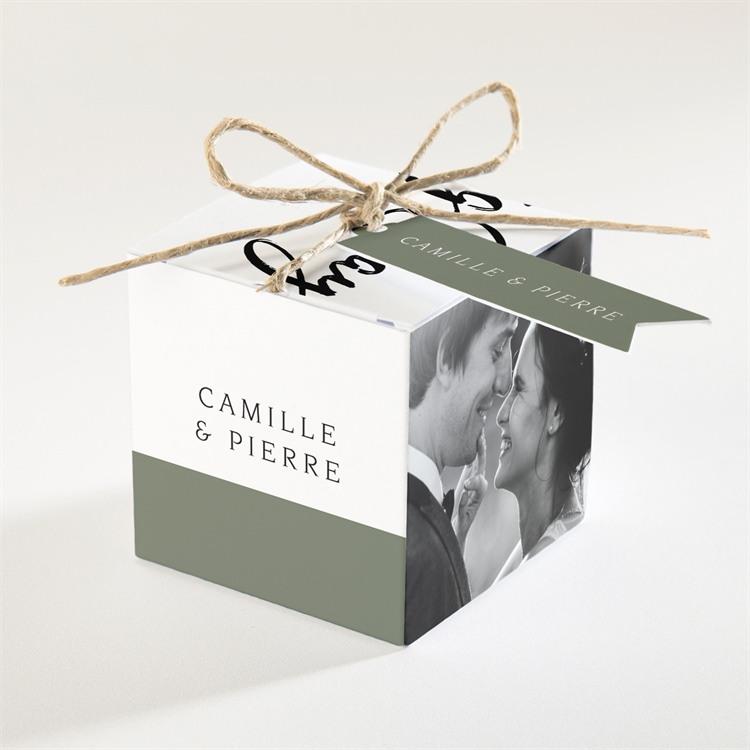 Boîte de dragées mariage Vert sauge réf.N340206
