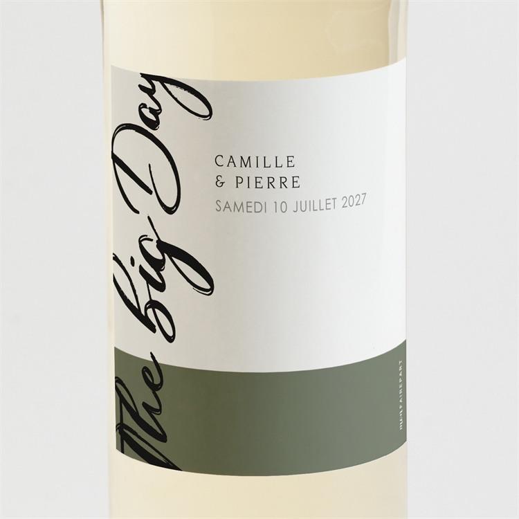 Etiquette de bouteille mariage Vert sauge réf.N3001549