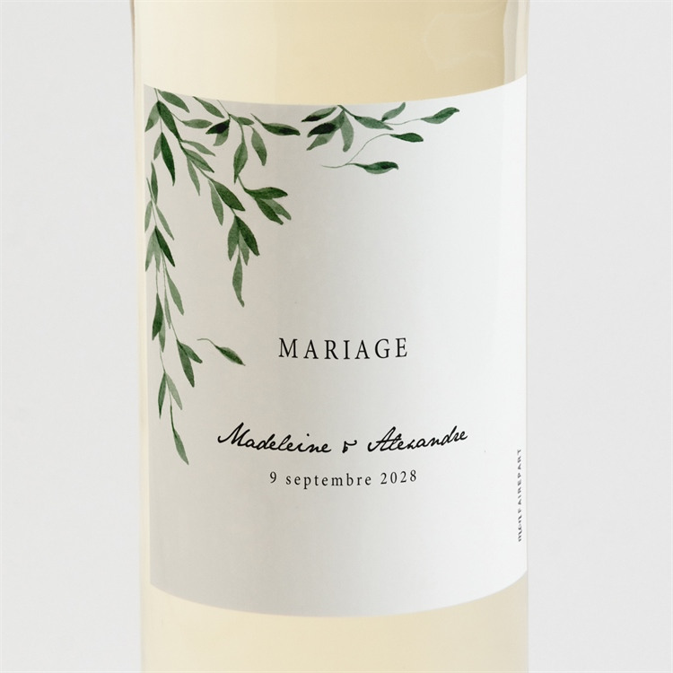 Etiquette de bouteille mariage A l'ombre de l'olivier réf.N3001550