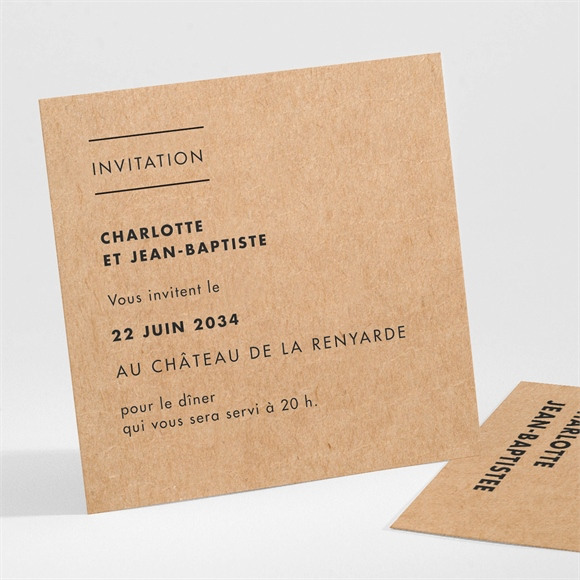 Carton d'invitation mariage Photomaton kraft réf.N301112