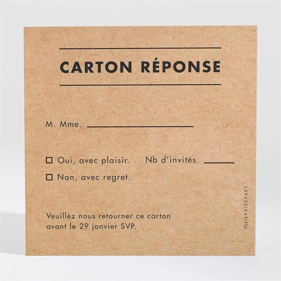 Carton réponse mariage Photomaton kraft réf.N3001558