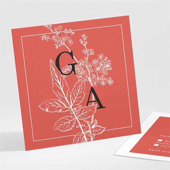 Carton réponse mariage Gravure rouge réf.N301116