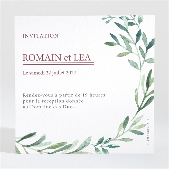 Carton d'invitation mariage Ronde végétale réf.N3001560