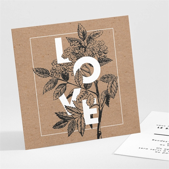 Carton d'invitation mariage Love gravure réf.N301137