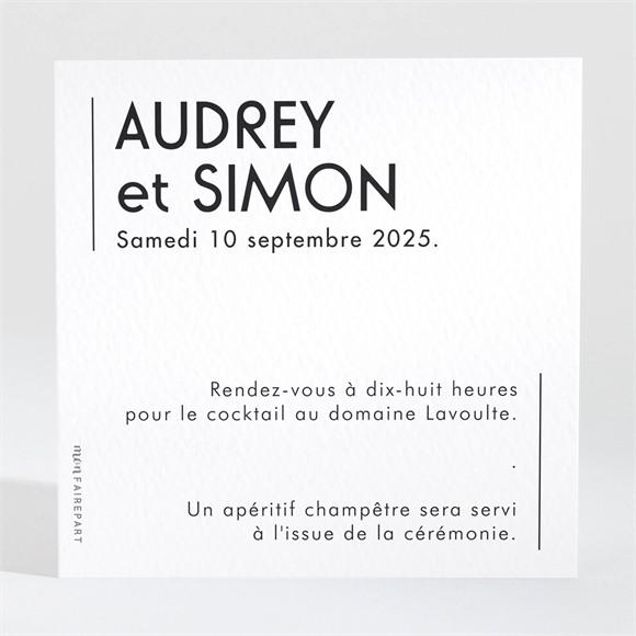Carton d'invitation mariage Initiales réf.N3001564