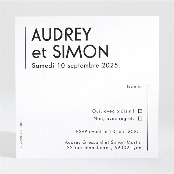 Carton réponse mariage Initiales réf.N3001565