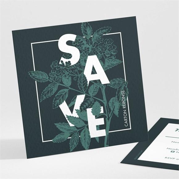 Carton réponse mariage Save the date gravure réf.N301142