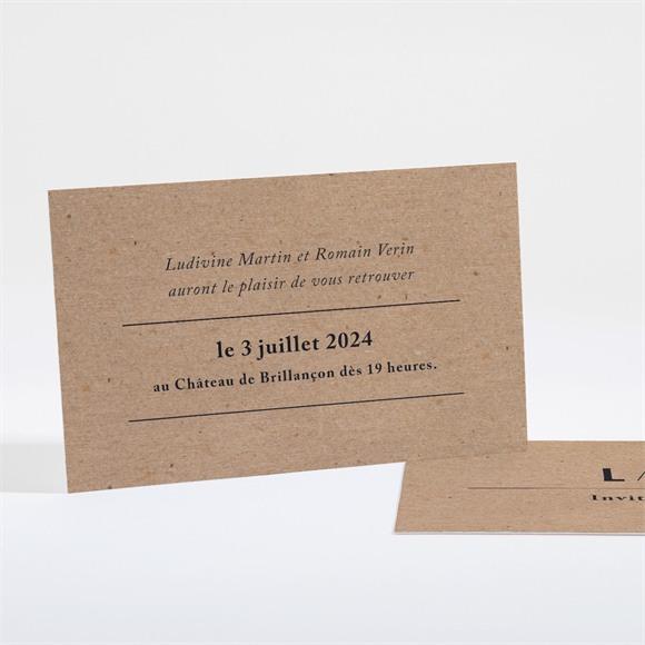 Carton d'invitation mariage Romance vintage réf.N16170