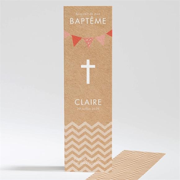Signet baptême Kraft rond et banderole rouge réf.N20152