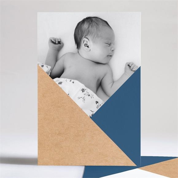 Faire-part naissance Bleu et kraft réf.N241180