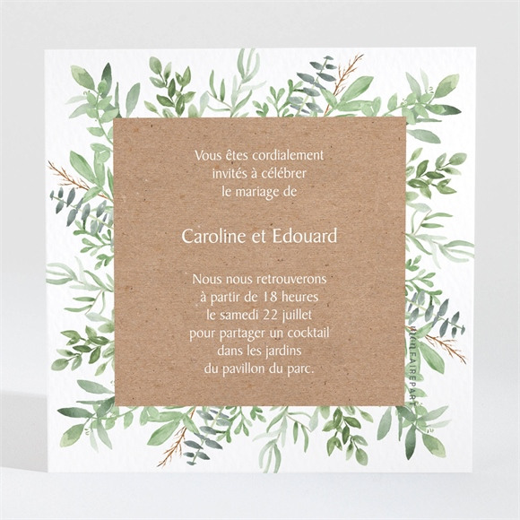Carton d'invitation mariage Feuillage d'été réf.N3001572