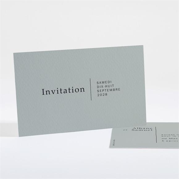 Carton d'invitation mariage Vert Laurier réf.N16175