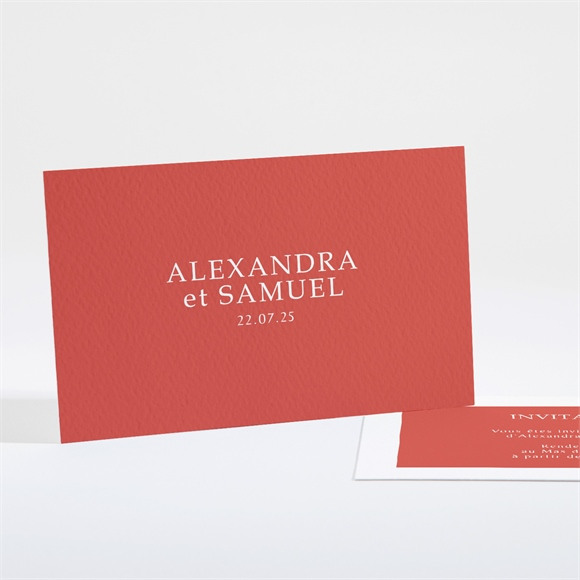Carton d'invitation mariage Minimaliste corail réf.N16183