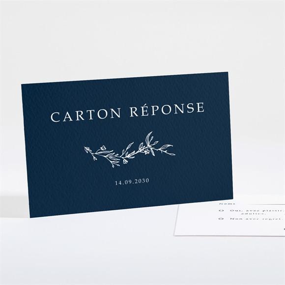 Carton réponse mariage Bleu minéral réf.N16188