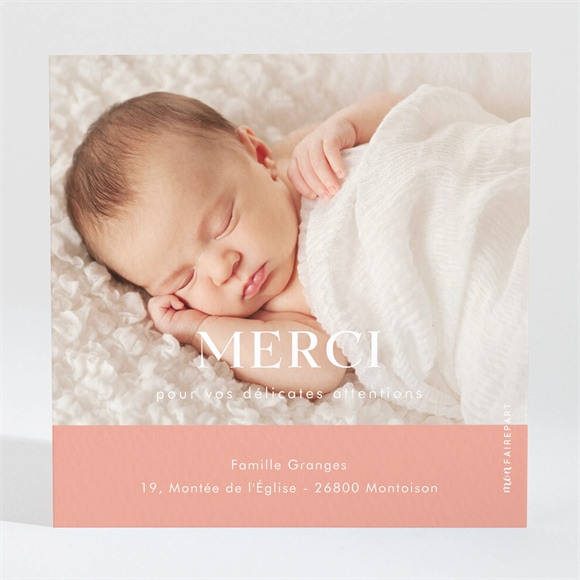 Remerciement naissance Simple incrustation sur photo réf.N3001582