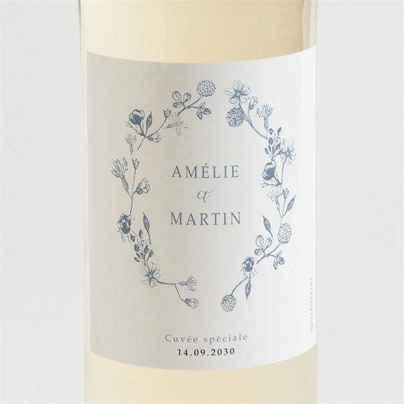 Etiquette de bouteille mariage Composition végétale réf.N3001588