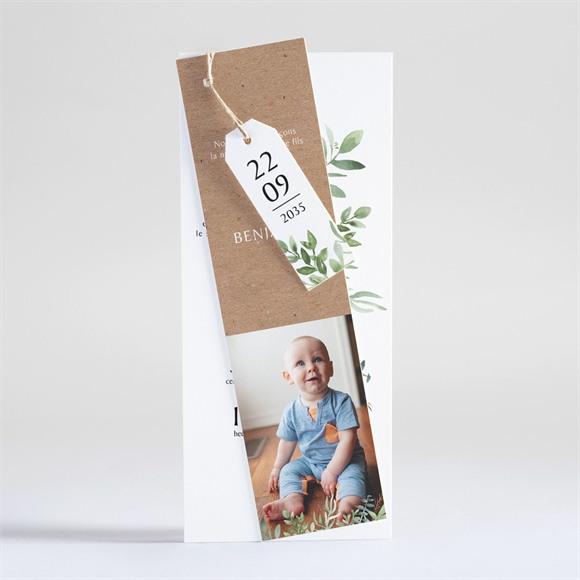 Faire-part naissance Kraft et végétation réf.N93115