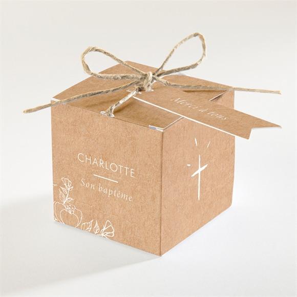 Boîte de dragées baptême Gravure sur kraft réf.N340265