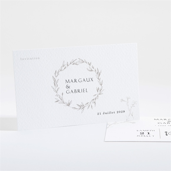 Carton d'invitation mariage Tendre couronne réf.N16191