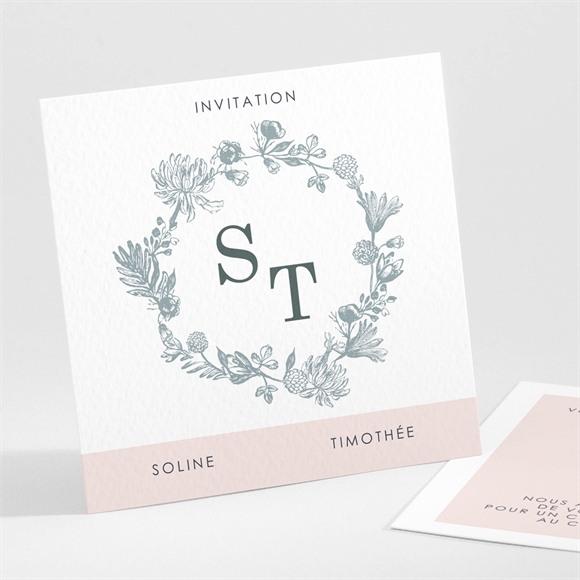 Carton d'invitation mariage Guirlande de fleurs réf.N301176
