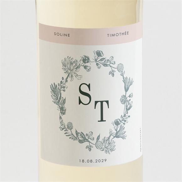 Etiquette de bouteille mariage Guirlande de fleurs réf.N3001597
