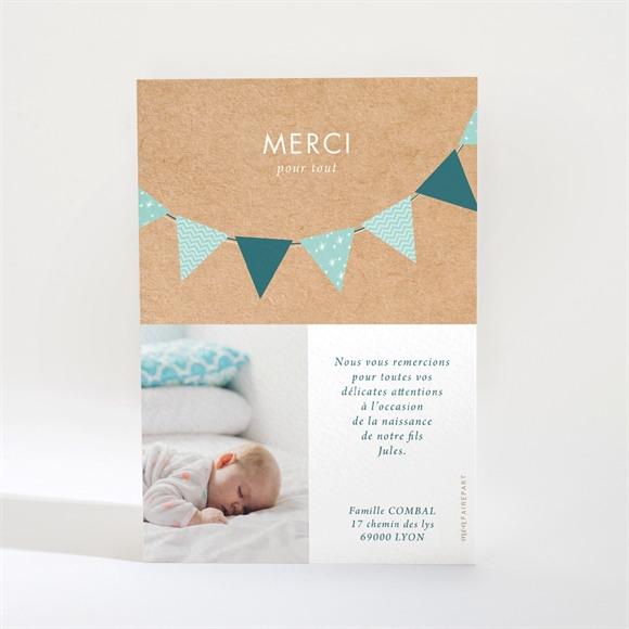Remerciement naissance Marque page Banderoles Kraft réf.N21018
