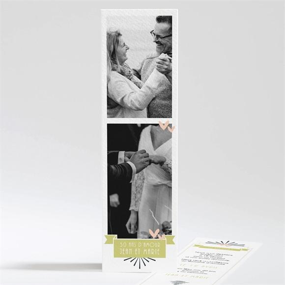 Invitation anniversaire de mariage Marque page réf.N201102
