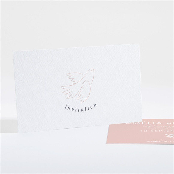 Carton d'invitation mariage L'Essentiel en initiales réf.N16196