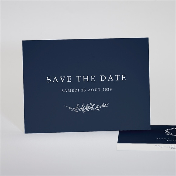 Save the Date mariage Bleu minéral réf.N18128