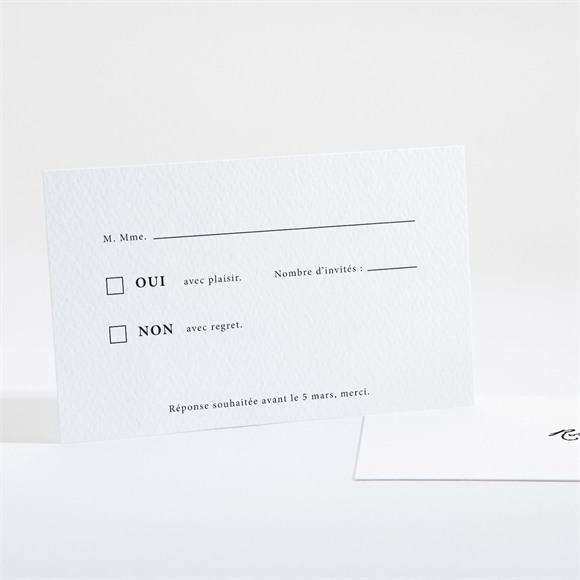 Carton réponse mariage Epuré réf.N161101