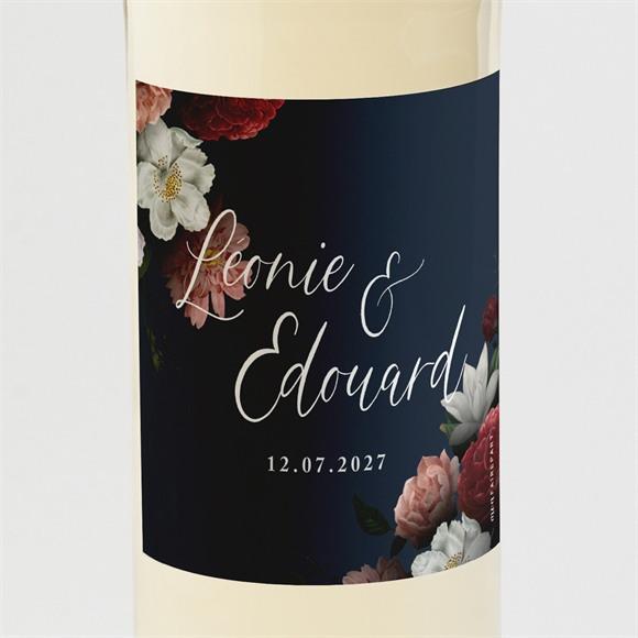 Etiquette de bouteille mariage Fleurs de Nuit réf.N3001620
