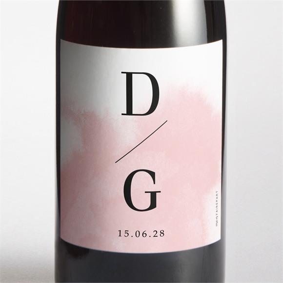 Etiquette de bouteille mariage Black et pastel réf.N3001625