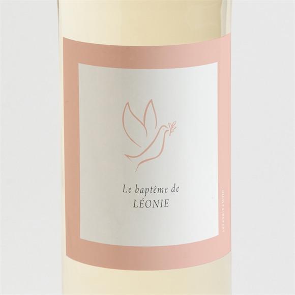 Etiquette de bouteille baptême Colombe cuivrée réf.N3001639