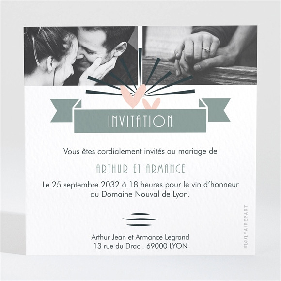 Carton d'invitation mariage Petit Pele Mele réf.N3001653